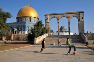 boys playing soccer on the Temple Mount