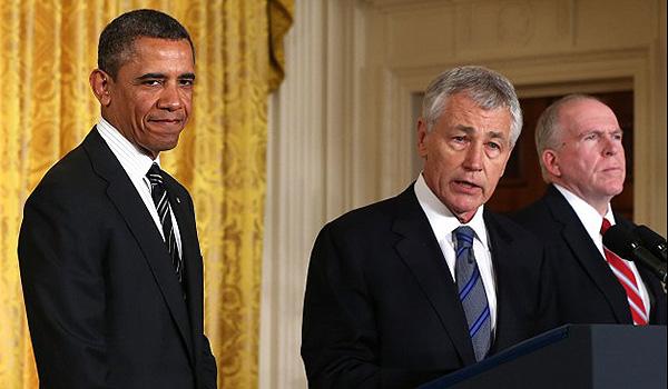 Barack Obama, Chuck Hagel and John Brennan