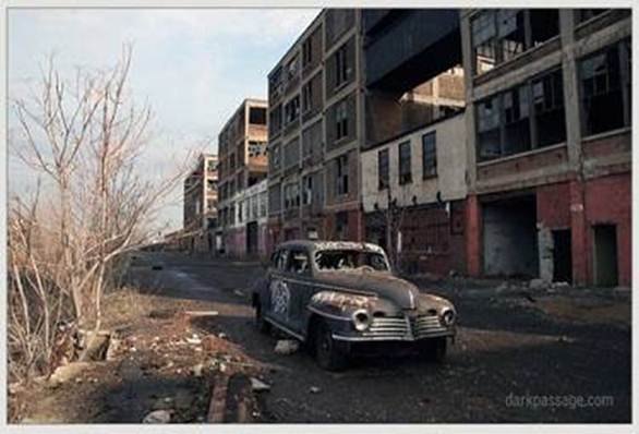 Detroit. ruined car