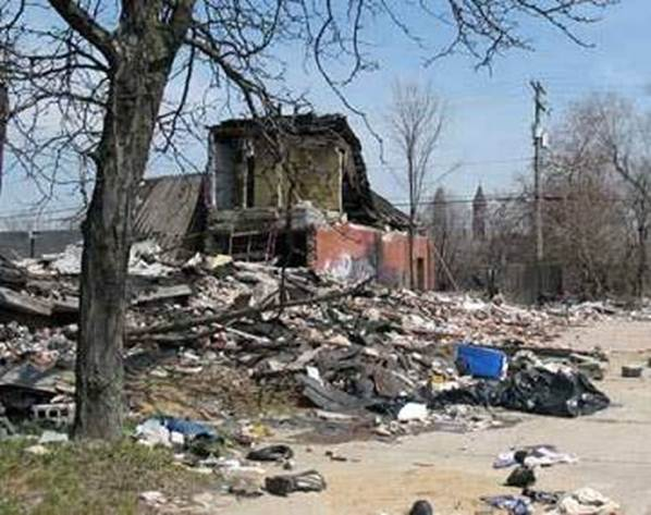 Detroit. ruined house and trash