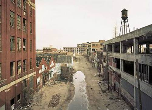 Detroit. ruined industrial area