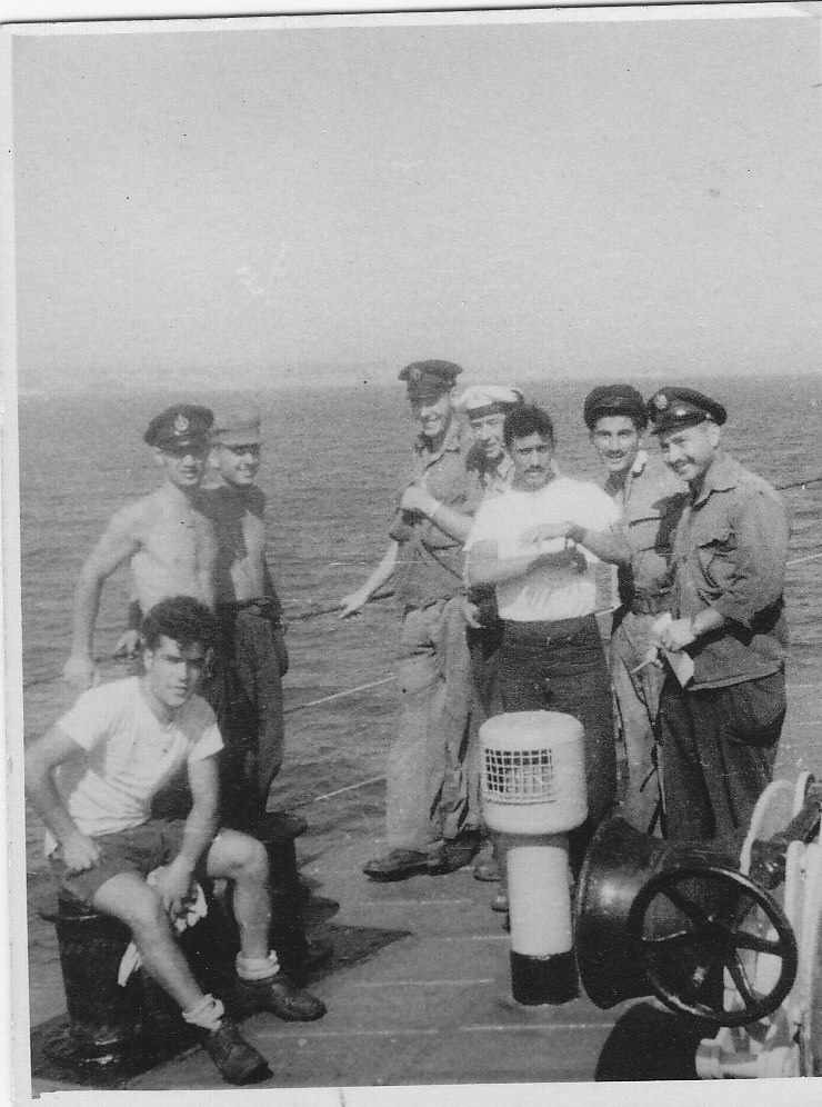 Israeli Navy soldiers chilling out on their way back to Israel on INS Misgav K-30 (Aug, 1953)