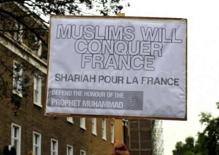protest outside the french embassy in london