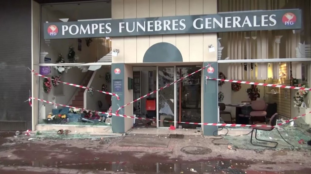 Damage from the Sarcelles pogrom (Line Press/YouTube)