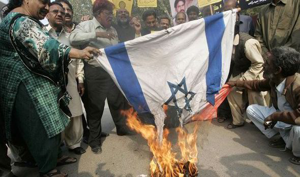 burning israeli flag