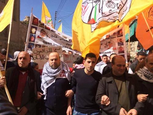 A sparse Fatah demonstration in Hebron