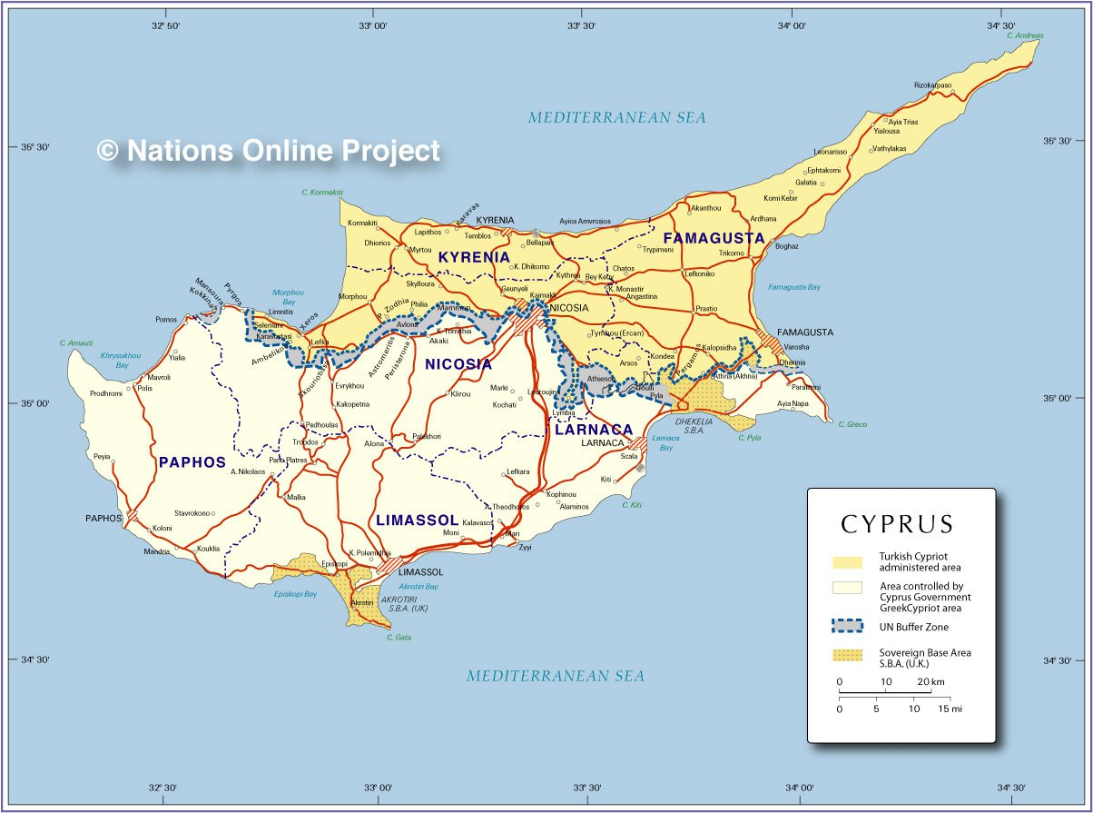The divided island of Cyprus