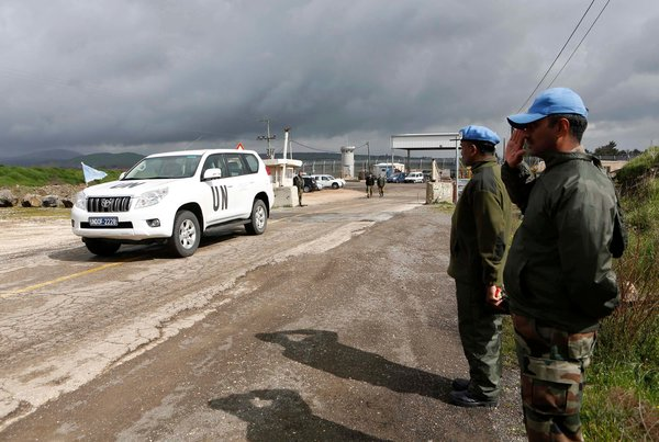 A United Nations vehicle crossed from Syria into Israel on the Golan Heights.