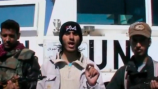 A video posted online Wednesday showed a member of the Martyrs of Yarmouk claiming responsibility for the abduction of a group of U.N. peacekeepers