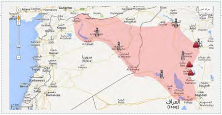 Oil fields in Syria and Iraq, in areas controlled by ISIS