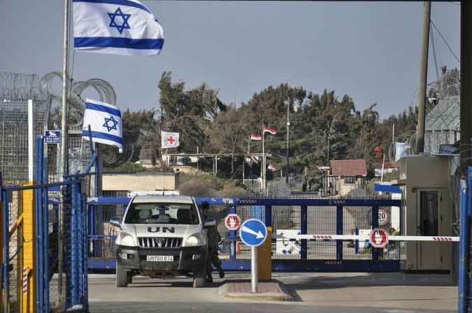 A crossing gate on the Israel-Syria border.