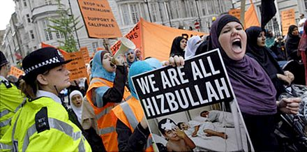 [Demo in support of Hezbollah, London]</p>