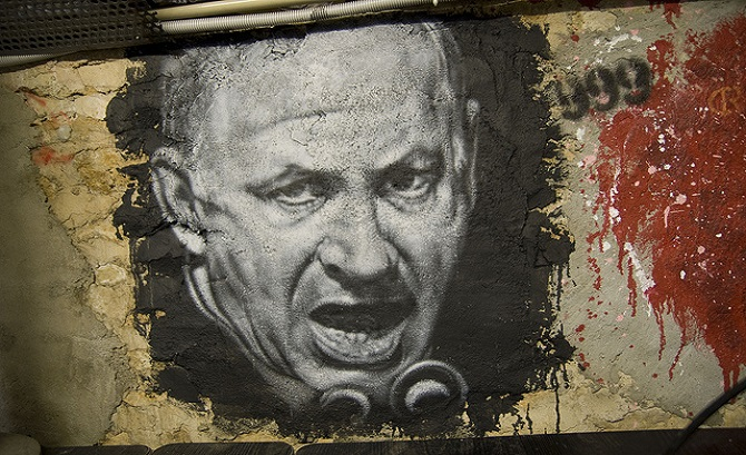 anti-netanyahu mural