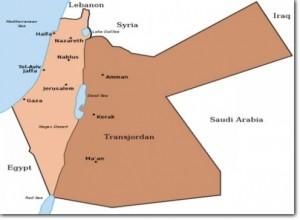 Map of the British Mandate of Palestine and Transjordan