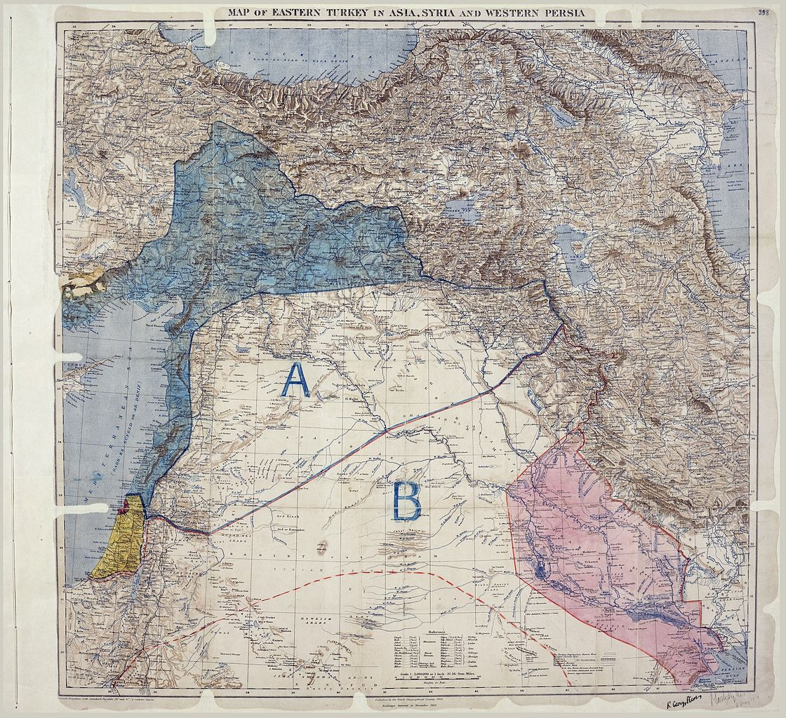 Sykes-Picot agreement map 1916