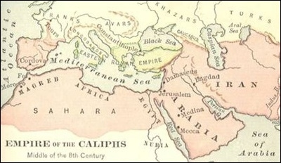 8th cent map of the Empire of the Caliphs
