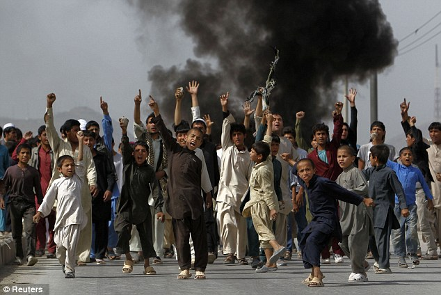 kabul children protesting the movie about Mohammad